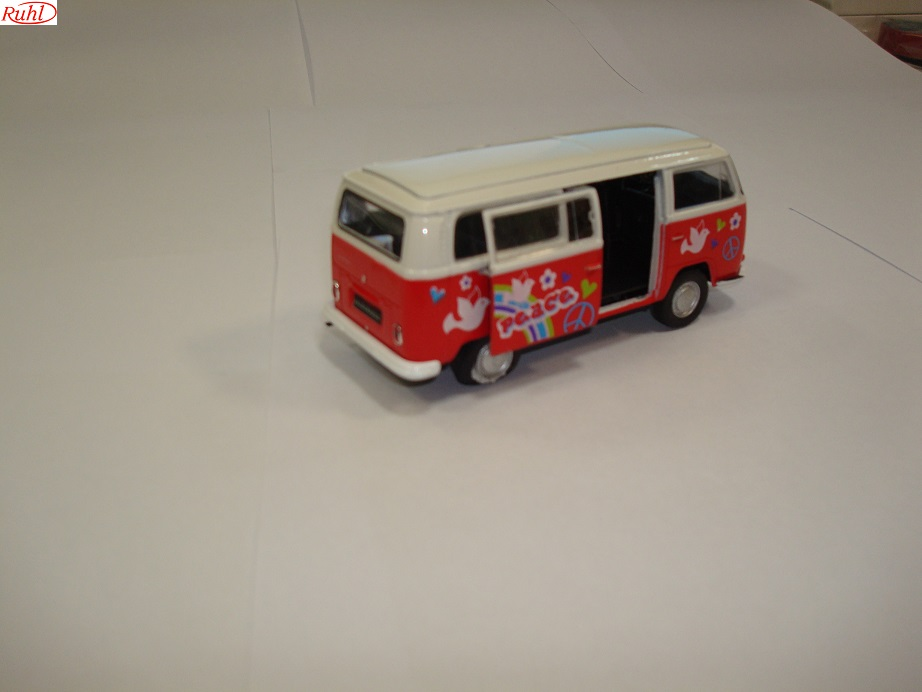 Welly VW T2 Classic Bus Flower Power,rood/wit