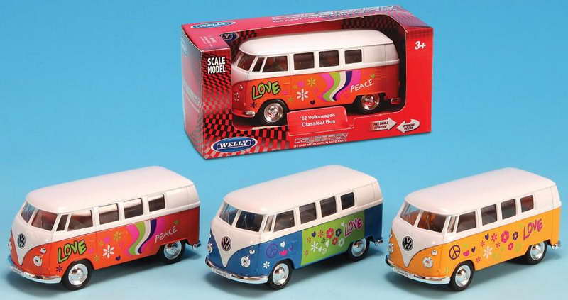 Welly VW T1 Classic Bus Flower Power,geel